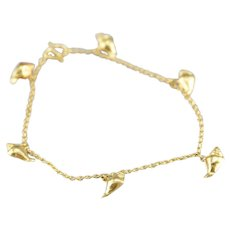 Vintage Conch Shell Charm Bracelet