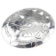 Taxco Aztec Face Medallion Brooch Pendant