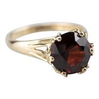High Profile Garnet Solitaire Ring