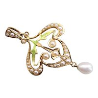 Art Nouveau Era Seed Pearl and Enamel Lavalier Pendant