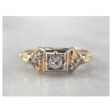 Retro Diamond Illusion Head Engagement Ring