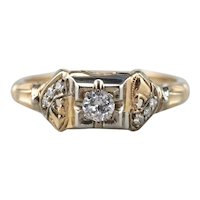 Retro Diamond Illusion Head Engagement Ring