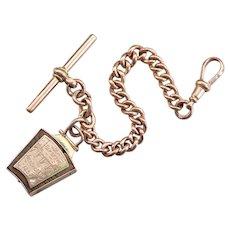 Antique Masonic Scottish Auld Brig O'Ayr 1252 Watch Chain and Fob