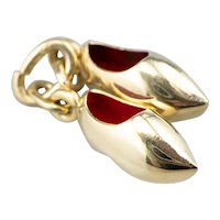 Red Enamel and 14 Karat Gold Dutch Clog Charm