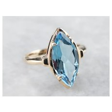 Vintage Marquise Cut Blue Topaz Solitaire Ring