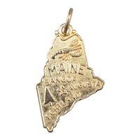Maine State 14 Karat Gold Pendant