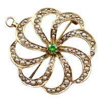 Victorian Demantoid Garnet and Seed Pearl Brooch or Pendant