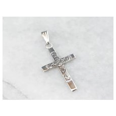 Lovely Engraved Floral Cross