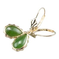 Nephrite Jade Cabochon Drop Earrings