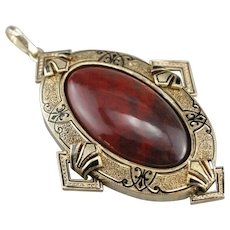 Large Red Jasper Cabochon Pendant with Gothic Enamel