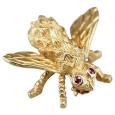 Vintage Ruby Eyed Queen Bee Brooch