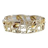 Vintage Floral Filigree Link Bracelet