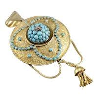 Etruscan Revival Turquoise Tassel Pendant Brooch