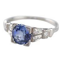 Late Art Deco Sapphire and Diamond Ring