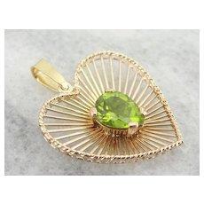 Vintage Radiant Heart Peridot Pendant