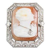 Flapper Art Deco Diamond Cameo Pin or Pendant