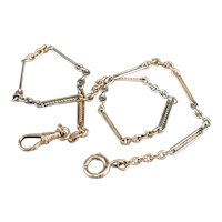 Retro Two Tone Bar Link Watch Chain