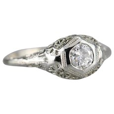 Upcycled Diamond Filigree Solitaire Ring