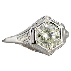 Lovely Floral Filigree Diamond Solitaire