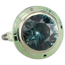 Upcycled Art Nouveau Blue Zircon Ring