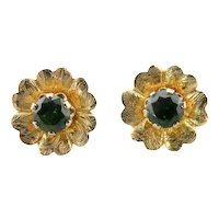 Flower Stud Earrings with Green Demantoid Garnets