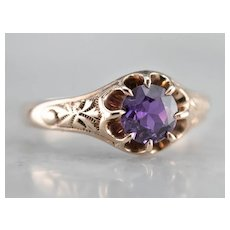 Purple Sapphire Patterned Belcher Solitaire Ring