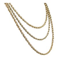 Long Vintage Rope Twist Chain Necklace