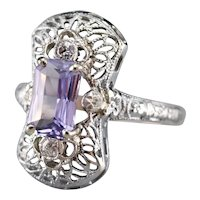 Upcycled Deco Purple Sapphire and Diamond Dinner Ring