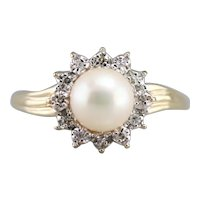 Vintage Cultured Pearl and Diamond Halo Ring