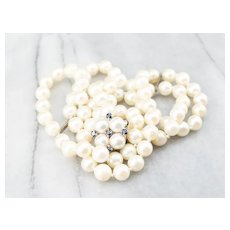 Cultured Pearl Sapphire Necklace with Removable Brooch