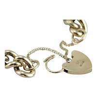 Vintage English Made Heart Padlock Link Bracelet