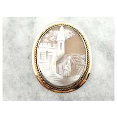 Detailed Landscape Cameo Brooch