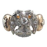 Old Mine Cut Diamond 32nd Degree Masonic Ring