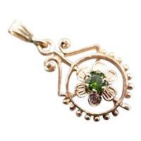 Art Nouveau Demantoid Garnet Floral Pendant