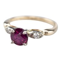 Pink Sapphire and Diamond Two Tone 14 Karat Gold Ring