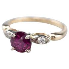 Pink Sapphire and Diamond Two Tone 14 Karat Gold Ring