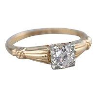 Retro Era European Cut Diamond Ring