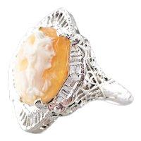 Art Deco Cameo Filigree Ring
