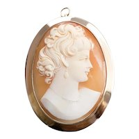 Large Vintage Cameo Brooch or Pendant