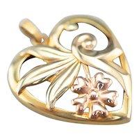 Retro Era Two Tone 14 Karat Gold Floral Pendant
