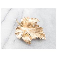 Classic Diamond Grape Leaf Brooch or Pendant
