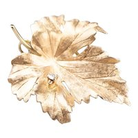Classic Diamond Grape Leaf Brooch or Pendant