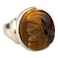 Antique Unisex Tiger's Eye Cameo Ring