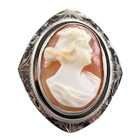Etched Upcycled Cameo Ring