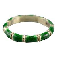 Vintage Green Enamel Band Ring