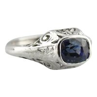 Exquisite Sapphire Scrolling Filigree Engagement Ring
