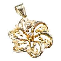 Upcycled Diamond Flower Pendant