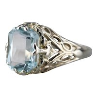 Fancy Cut Blue Topaz Filigree Cocktail Ring