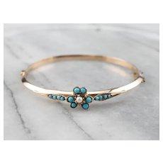 Turquoise Glass Floral Bangle Bracelet