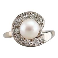 Cultured Pearl and Old Mine Cut Diamond Cocktail Ring